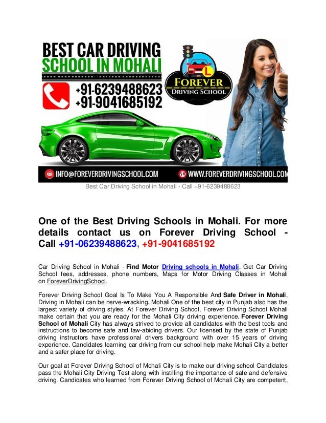 Best Car Driving School in Mohali - Call +91-6239488623