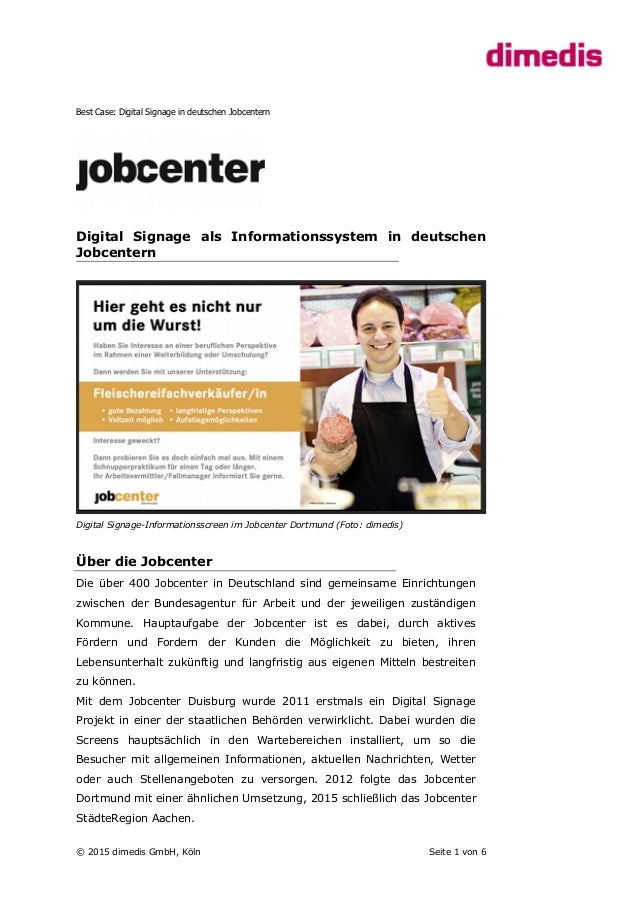 Best Case: Digital Signage in deutschen Jobcentern Digital Signage als Informationssystem in deutschen Jobcentern Digital ...