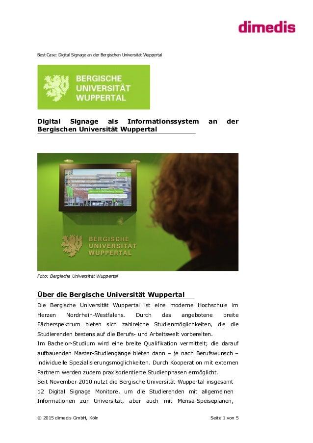 Best Case: Digital Signage an der Bergischen Universität Wuppertal Digital Signage als Informationssystem an der Bergische...