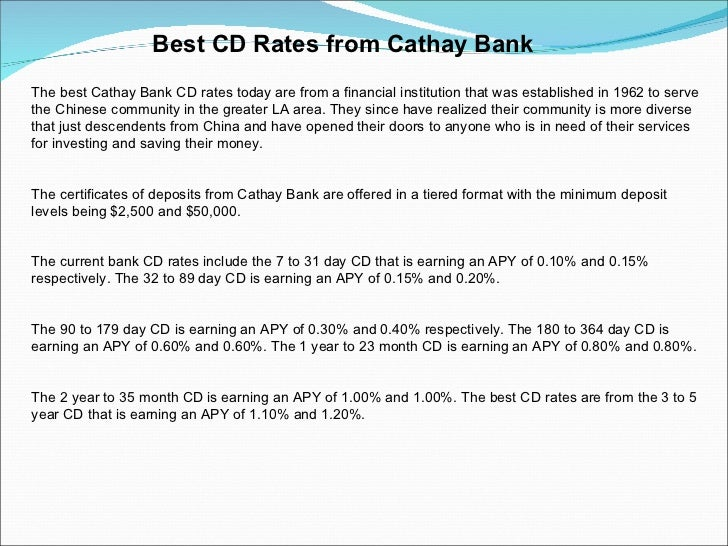 Best Cd Rates >> Best Cd Rates From Cathay Bank
