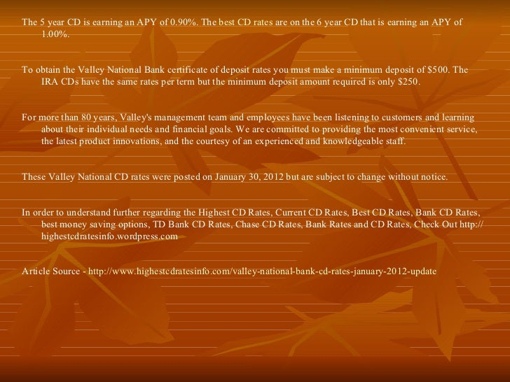 Best cd rates from valley national bank