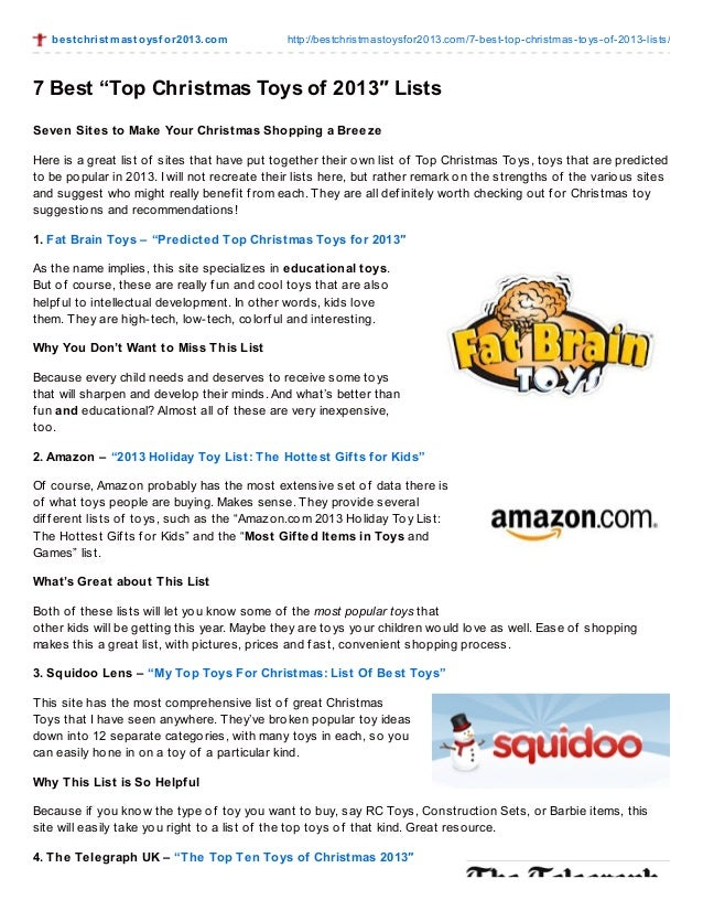 """Most Popular Christmas Toys For 2013 : Best """"top christmas toys of ″ lists"""