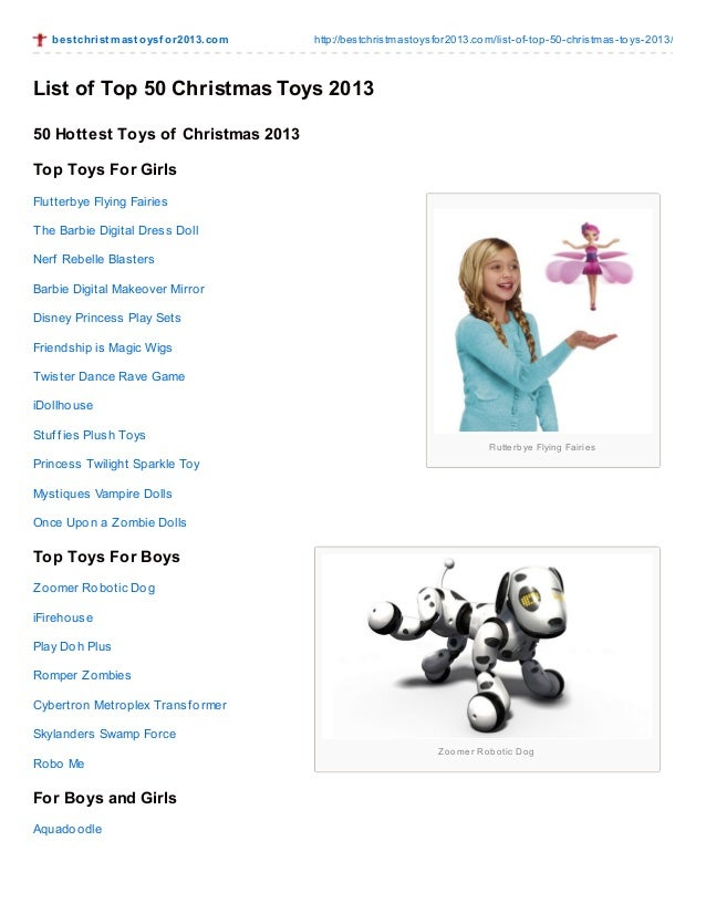 Most Popular Christmas Toys For 2013 : List of top christmas toys