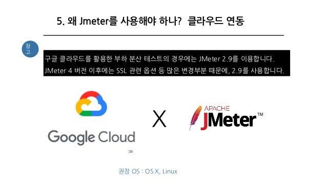 38 5. 왜 Jmeter를 사용해야 하나? 클라우드 연동 구글 클라우드를 활용한 부하 분산 테스트의 경우에는 JMeter 2.9를 이용합니다. JMeter 4 버전 이후에는 SSL 관련 옵션 등 많은 변경부분 때문에,...