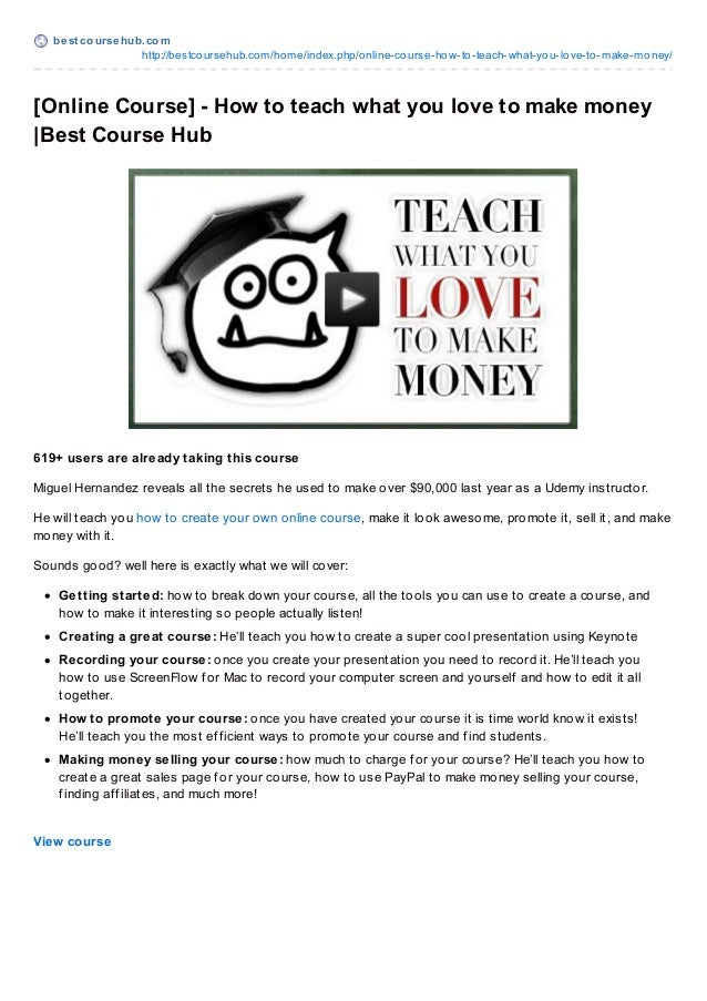 Online Course] – How to teach what you love to make money