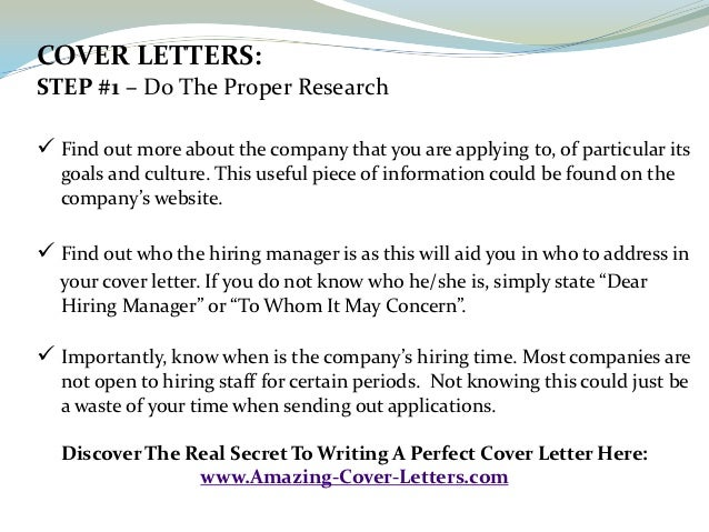 COVER LETTERS:STEP ...  Proper Cover Letter Format