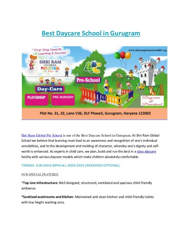 Best Daycare School in Gurugram Shri Ram Global Pre School is one of the Best Daycare School in Gurugram. At Shri Ram Glob...