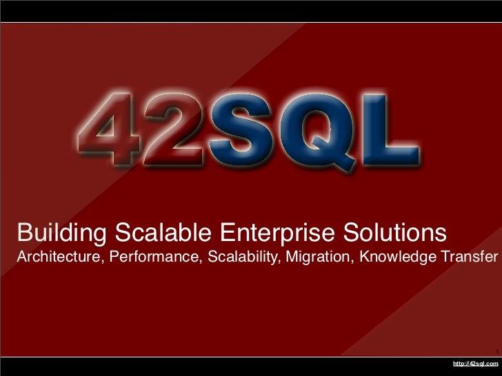 Best Design Practices - Part A     Building Scalable Enterprise Solutions Architecture, Performance, Scalability, Migratio...