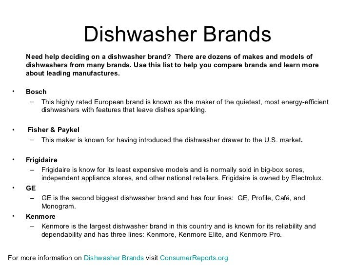 5 dishwasher brands