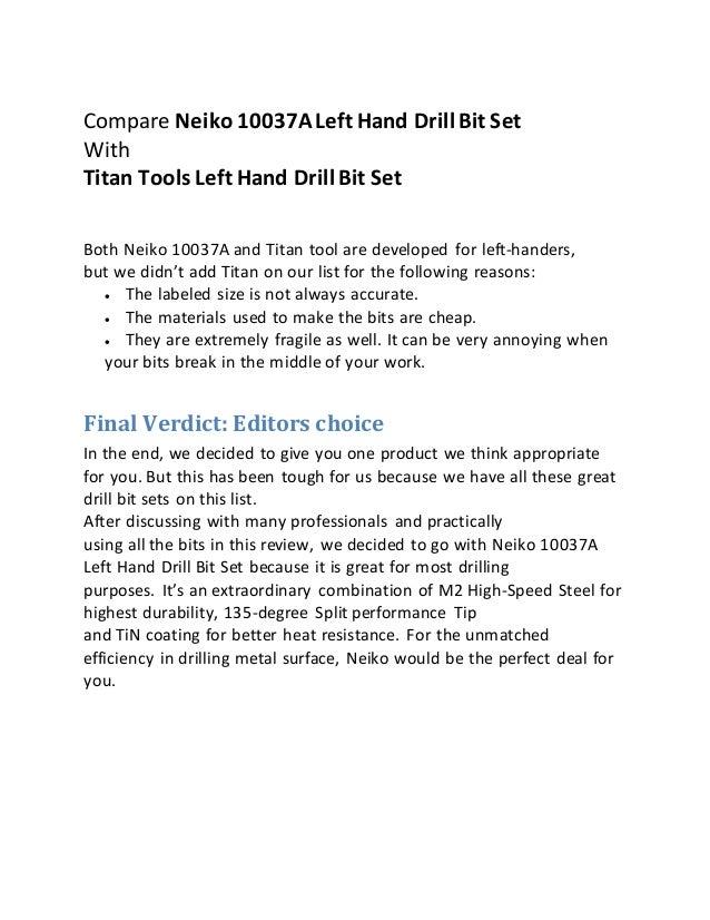 material quality 11 compare neiko 10037aleft hand drill bit