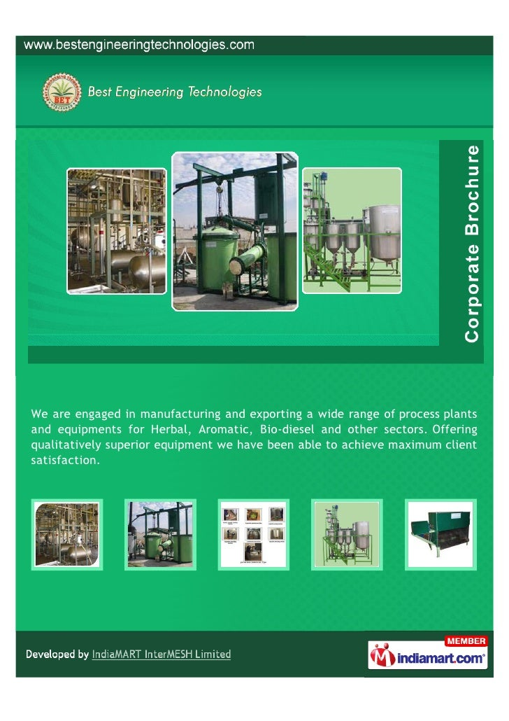 We are engaged in manufacturing and exporting a wide range of process plantsand equipments for Herbal, Aromatic, Bio-diese...
