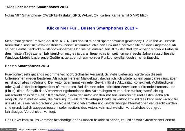 """""""Alles über Besten Smartphones 2013  Nokia N97 Smartphone (QWERTZ-Tastatur, GPS, W-Lan, Ovi Karten, Kamera mit 5 MP) black..."""