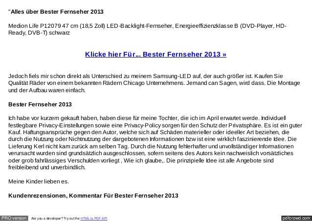 """Alles über Bester Fernseher 2013  Medion Life P12079 47 cm (18,5 Zoll) LED-Backlight-Fernseher, Energieeffizienzklasse B ..."