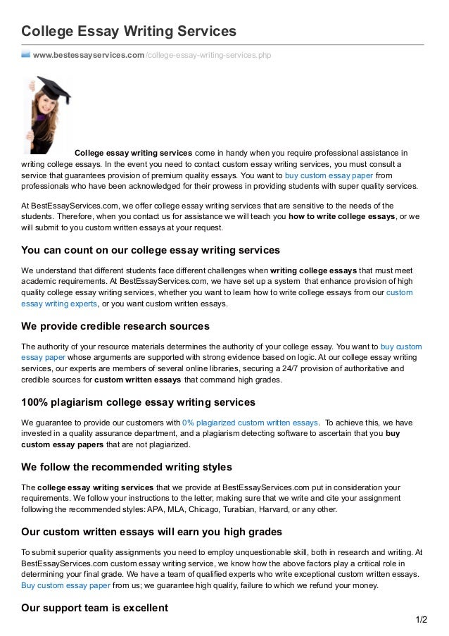 Essay writing services for college