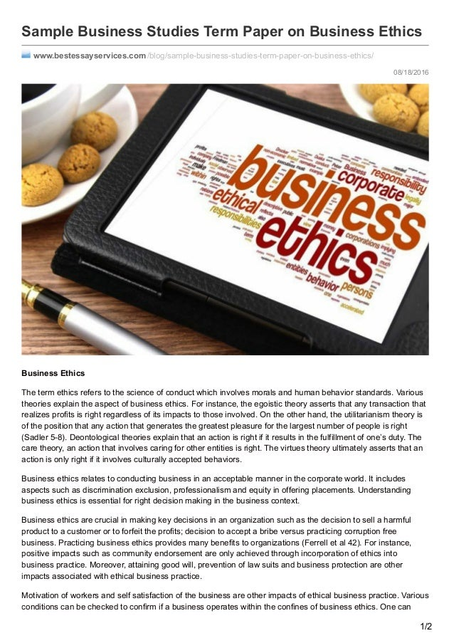 Business ethics term papers