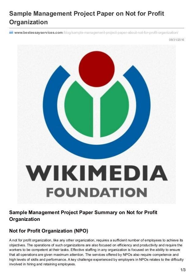 Not for profit organizations essay