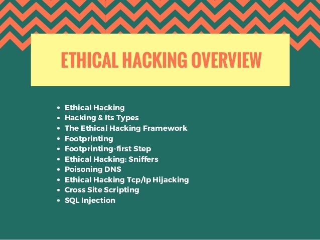 ETHICAL HACKING OVERVIEW Ethical Hacking Hacking & Its Types The Ethical Hacking Framework Footprinting Footprinting-firs...