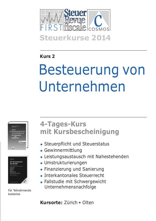 Besteuerung_unternehmen VERDANA a_Layout 1 28.11.13 09:41 Seite 2  Steuerkurse 2014 Kurs 2  Besteuerung von Unternehmen 4-...