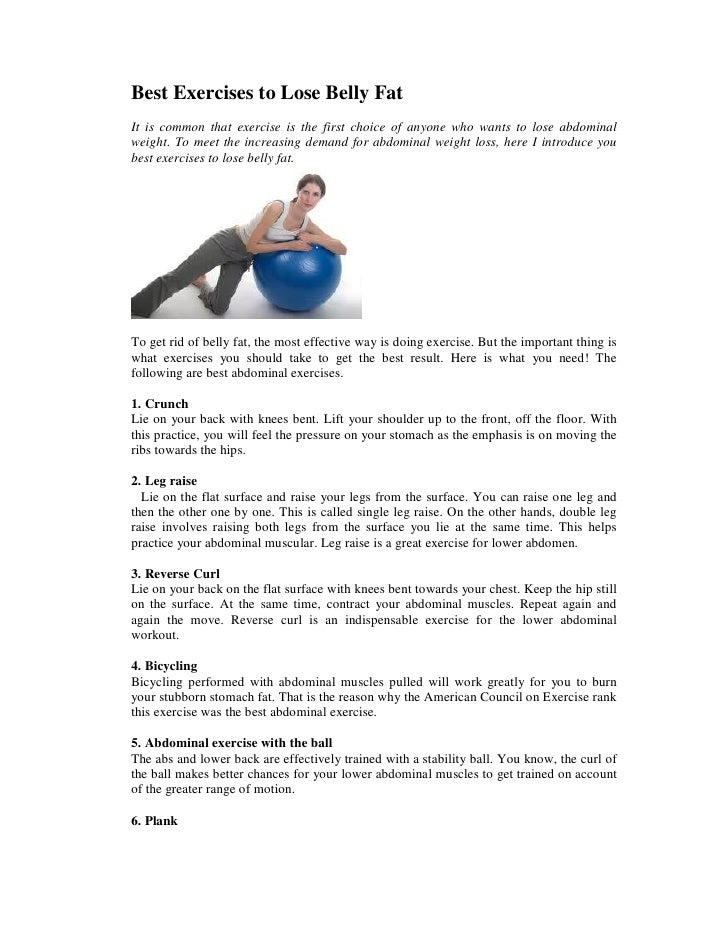 Best Exercises To Lose Belly Fat