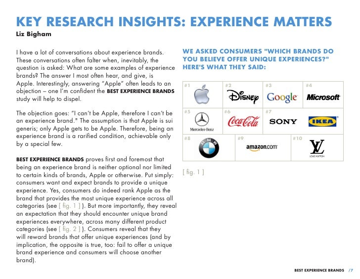 KEY RESEARCH INSIGHTS: EXPERIENCE MATTERSLiz BighamI have a lot of conversations about experience brands.        WE ASKED ...