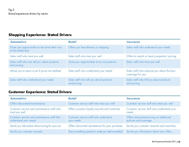 /15Best Experience Brands 2013Fig.5Brand experience drivers by sectorShopping Experience: Stated DriversCustomer Experienc...