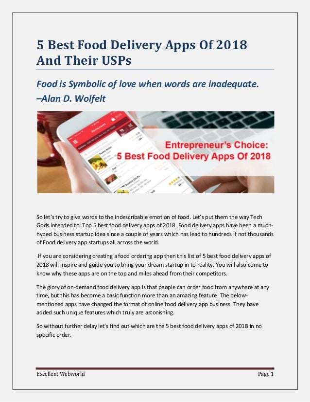 5 Best Food Delivery Apps Of 2018 And Their USPs