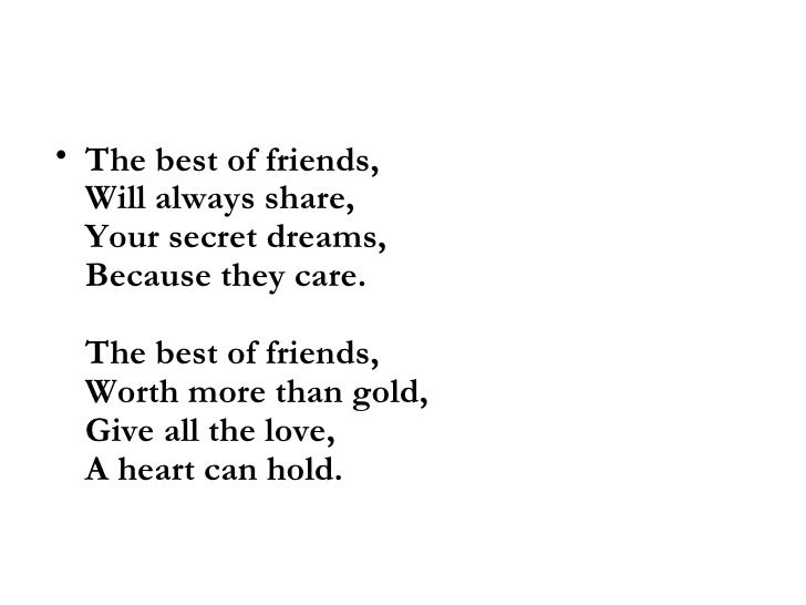 poems about best friends forever