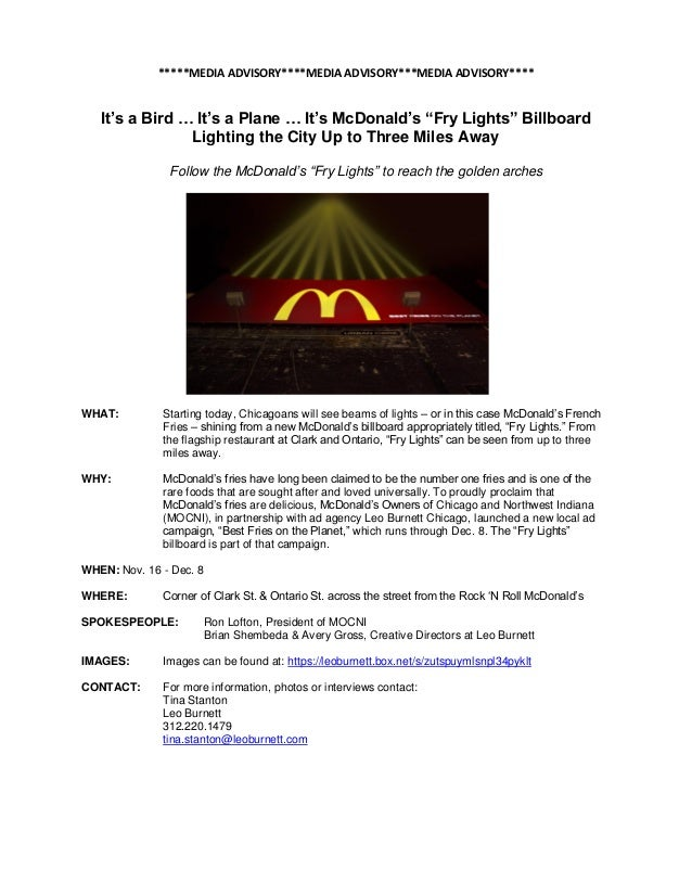 "*****MEDIA ADVISORY****MEDIA ADVISORY***MEDIA ADVISORY****   It's a Bird … It's a Plane … It's McDonald's ""Fry Lights"" Bil..."