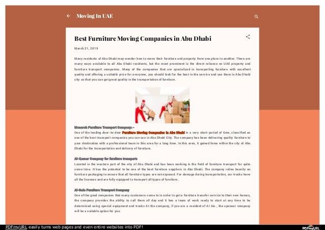 Best furniture moving companies in abu dhabi
