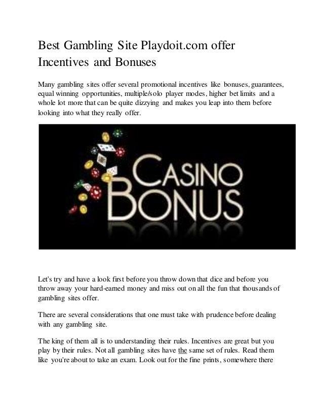 Best Gambling Site Playdoit Com Offer Incentives And Bonuses
