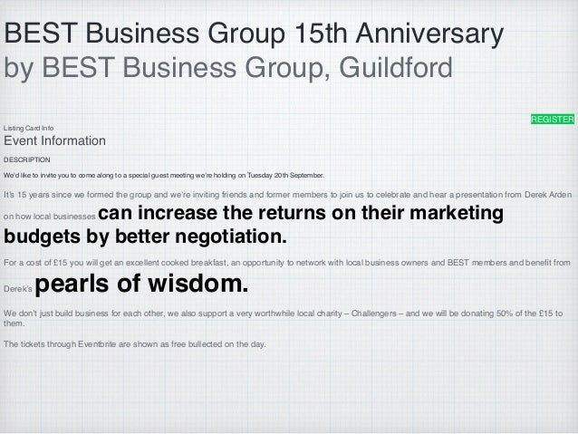 BEST Business Group 15th Anniversary by BEST Business Group, Guildford REGISTER Listing Card Info Event Information DESCRI...