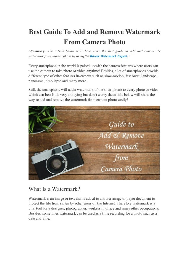 """Best Guide To Add and Remove Watermark From Camera Photo """"Summary: The article below will show users the best guide to add..."""