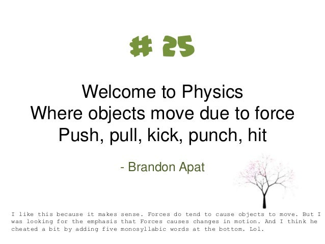 Best Haikus from my physics class.