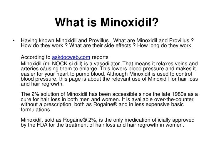 Side Effects Of Minoxidil Hair Treatment