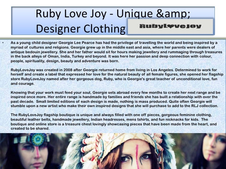 Ruby Love Joy - Unique &                 Designer Clothing Mooloolaba•   As a young child designer Georgie Lee Pearce ...