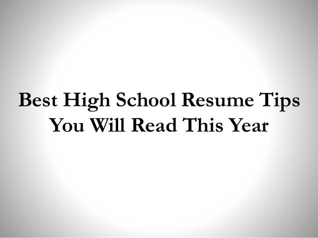 SlideShare  Best High School Resume