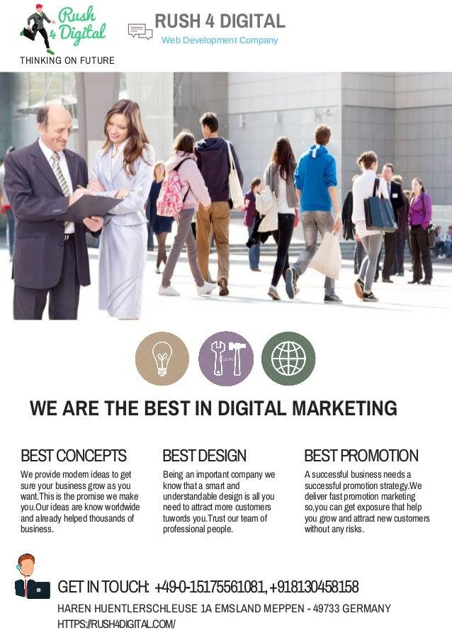WE ARE THE BEST IN DIGITAL MARKETING BESTCONCEPTS BESTDESIGN BESTPROMOTION We provide modern ideas to get sure your busine...
