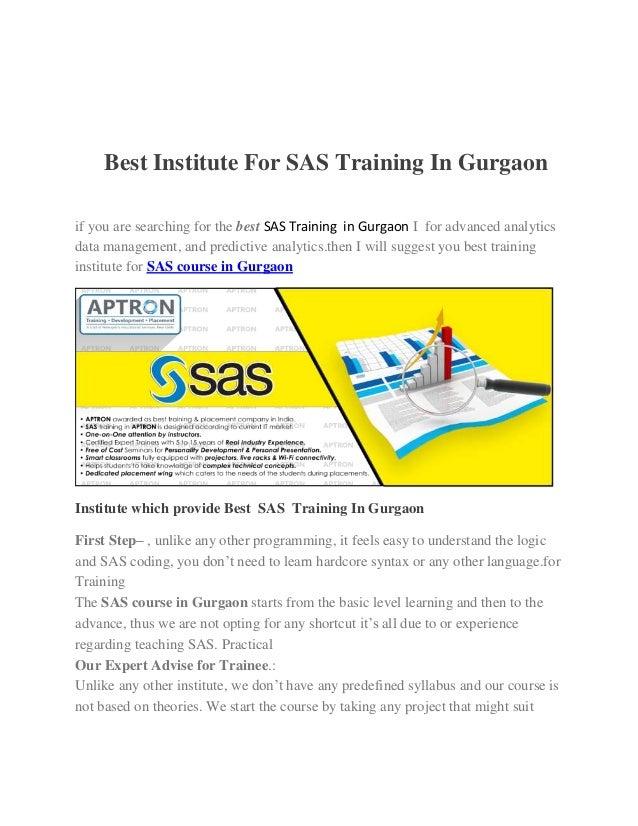 Best Institute For Sas Training In Gurgaon