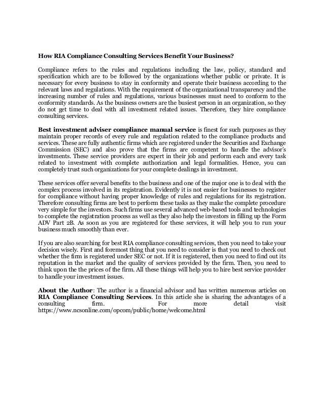 best investment adviser compliance manual service ncsonline article rh slideshare net investment advisor compliance manual florida investment advisor compliance manual pdf