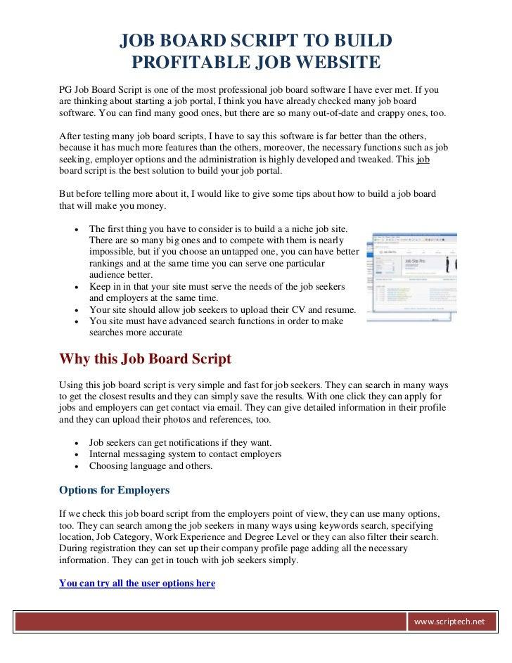 JOB BOARD SCRIPT TO BUILD                PROFITABLE JOB WEBSITEPG Job Board Script is one of the most professional job boa...