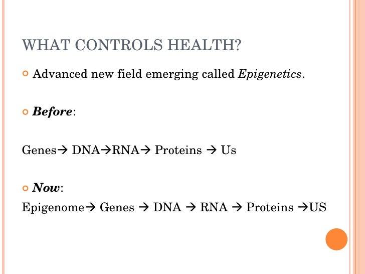 WHATCONTROLSHEALTH?    AdvancednewfieldemergingcalledEpigenetics.      Before:   GenesDNARNAProteinsUs   ...