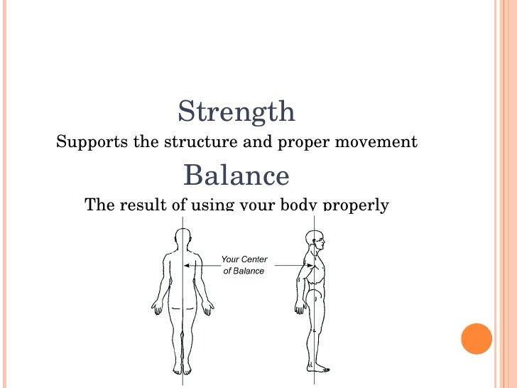 Strength Supportsthestructureandpropermovement                 Balance    Theresultofusingyourbodyproperly