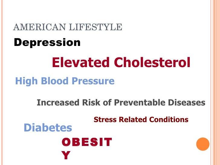 AMERICANLIFESTYLE Depression        Elevated Cholesterol High Blood Pressure      Increased Risk of Preventable Diseases ...