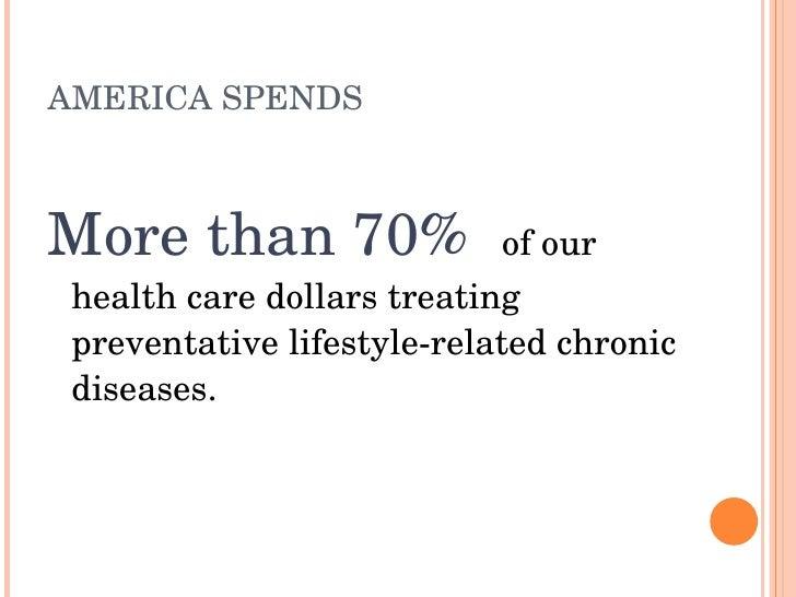 AMERICASPENDS    Morethan70%ofour  healthcaredollarstreating  preventativelifestylerelatedchronic  diseases.