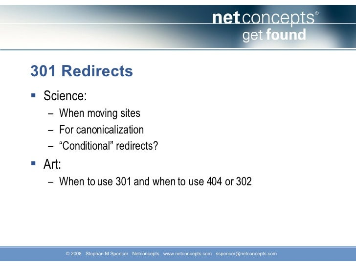 301 Redirects <ul><li>Science: </li></ul><ul><ul><li>When moving sites </li></ul></ul><ul><ul><li>For canonicalization </l...