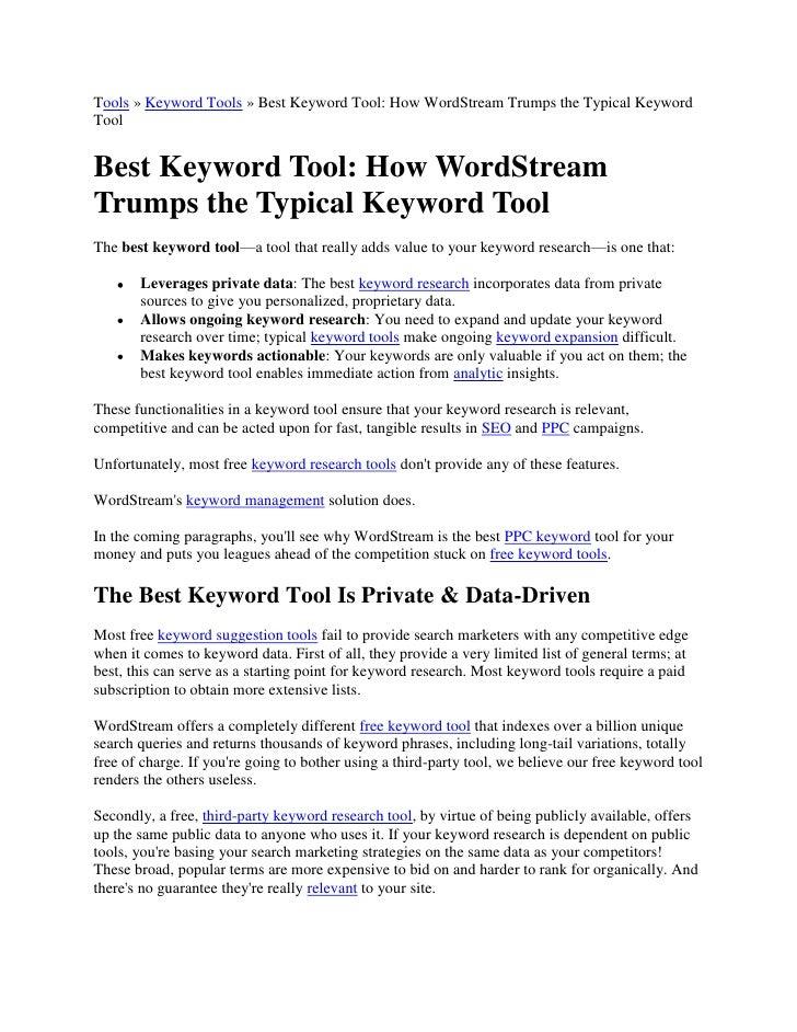 Tools » Keyword Tools » Best Keyword Tool: How WordStream Trumps the Typical Keyword Tool<br />Best Keyword Tool: How Word...