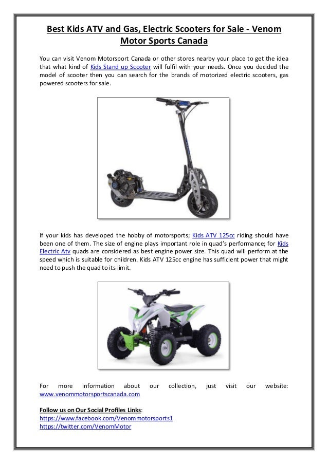 Best Kids ATV and Gas, Electric Scooters for Sale - Venom