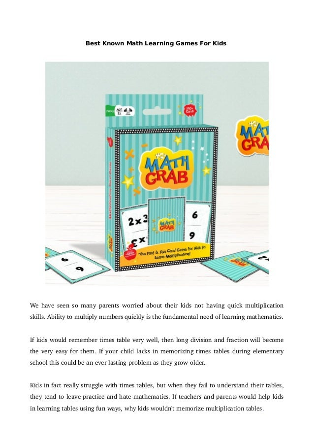 Best known math learning games for kids