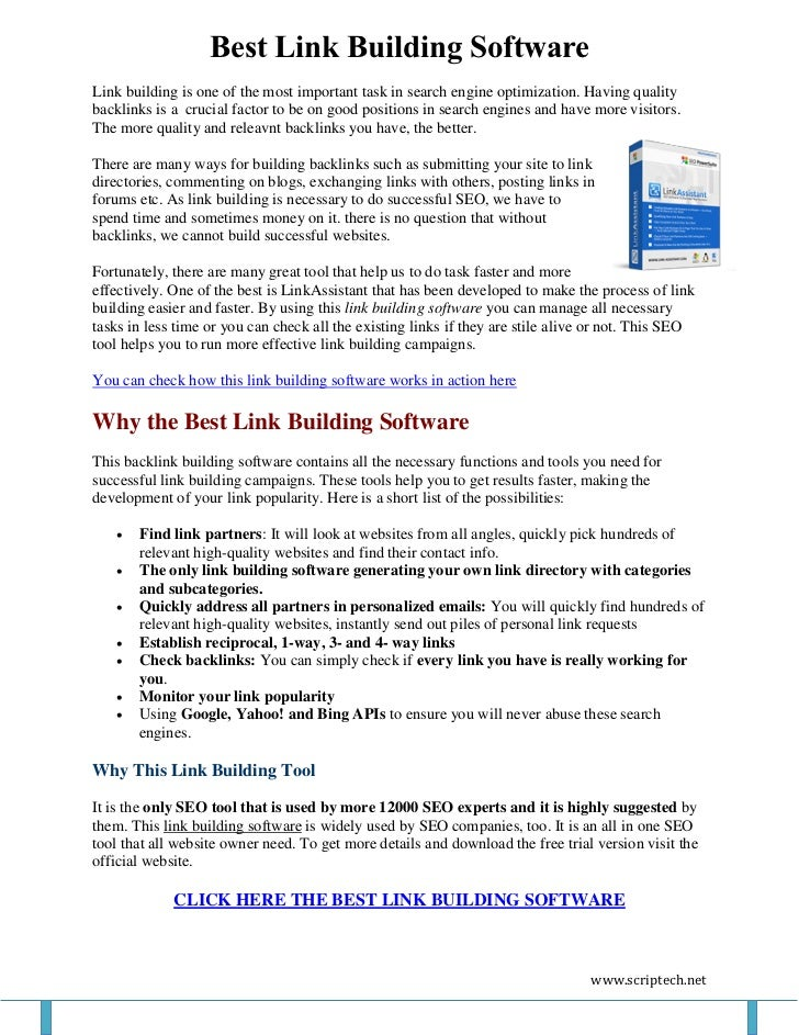 Best Link Building SoftwareLink building is one of the most important task in search engine optimization. Having qualityba...