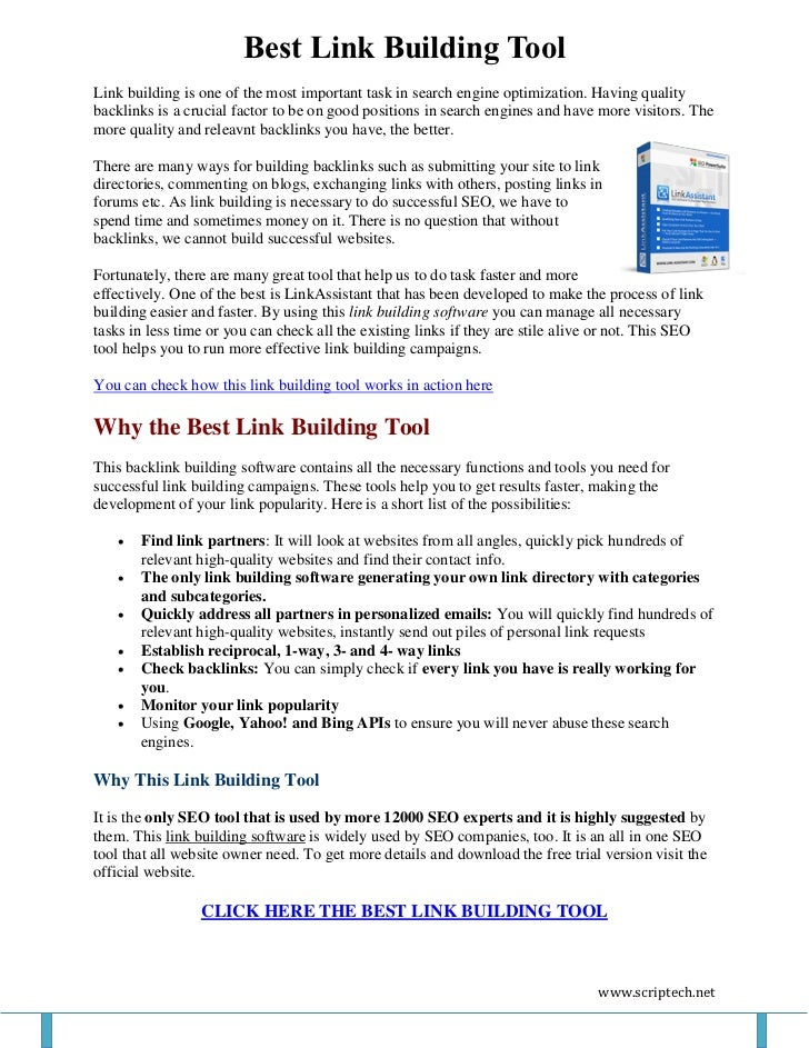 Best Link Building ToolLink building is one of the most important task in search engine optimization. Having qualitybackli...